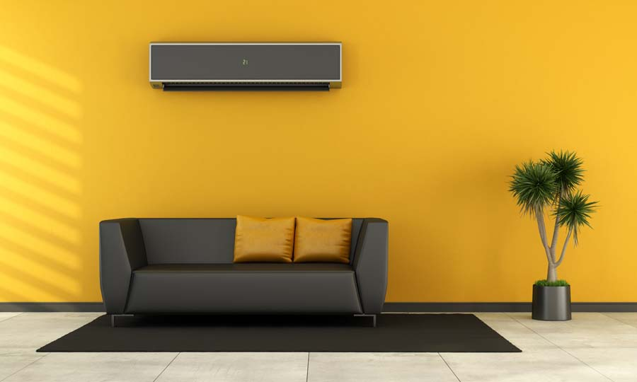 Modern living room with black couch and air conditioner on wall - rendering.