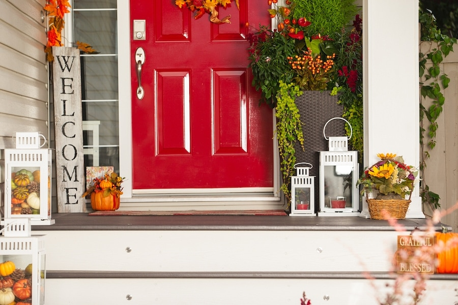 Autumn front entrance with front door fall decorations. 5 Reasons to Schedule a Fall Furnace Clean and Check