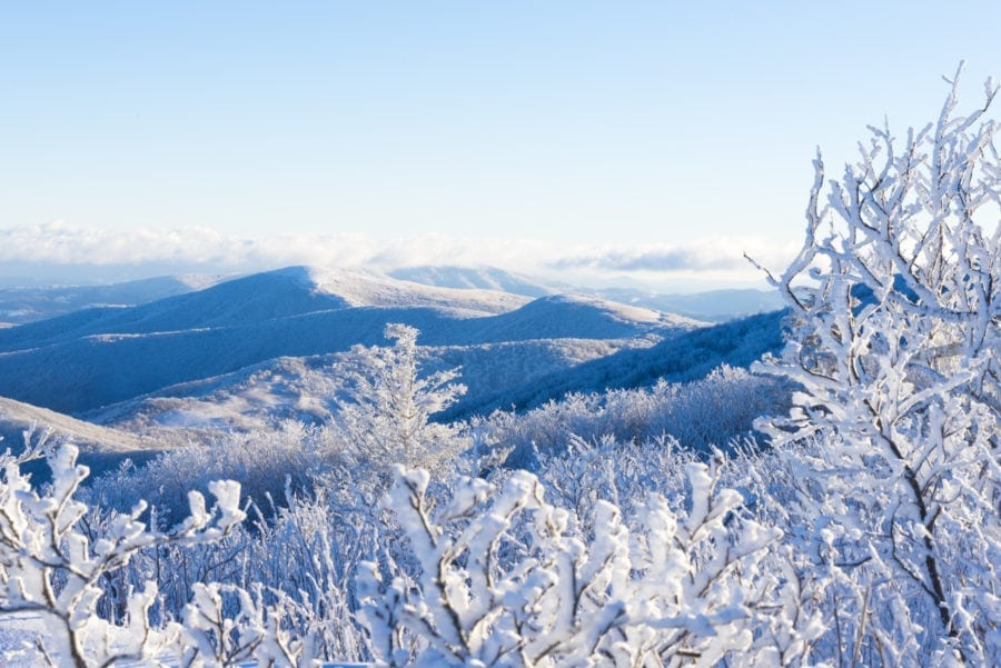 Hiking along the Appalachian Trail in the winter snow-covered landscape at the Roan Highlands